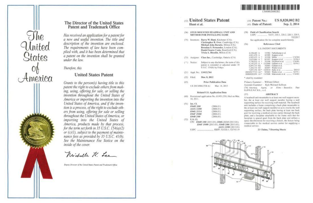 Studmount Headwall Patent- USA
