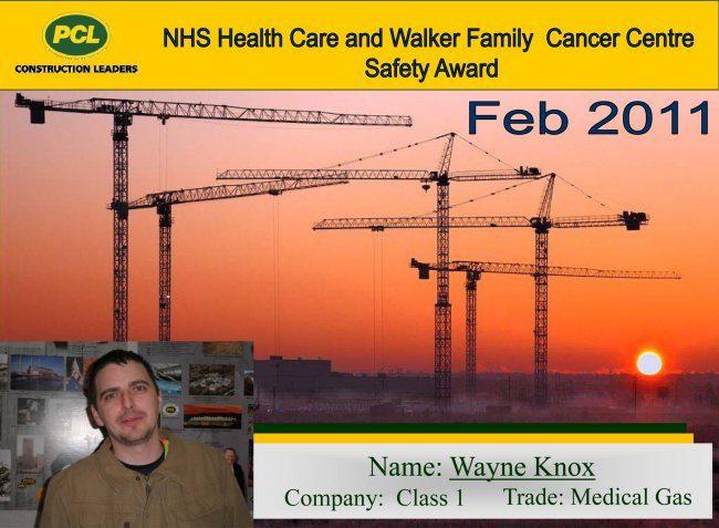 February 2011 - Safety Award - Wayne Knox